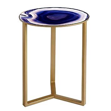 Hanshan Tables Table Basse Table De Chevet En Verre Teinté Or Fer