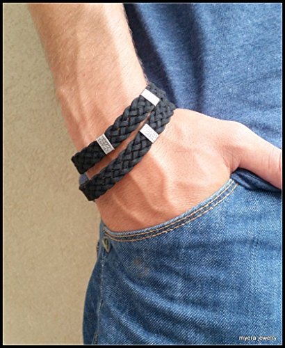 Mens Black Braided Soft Leather Wrap Bracelet With Carved Charms