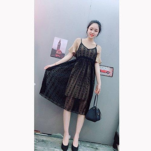 Longueur lingue kakis Femmes Robe Costume Suggestion L Deux Courtes Robes 118 Jin Jupe MiGMV Moyenne Manches de 100 HvwTqtAx
