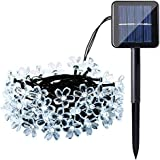 Qedertek Solar Flower String Lights, Cherry Blossom 22ft 50 LED Waterproof Outdoor String Lights for Patio,Lawn,Garden,Holiday and Festivals Decorations (White)