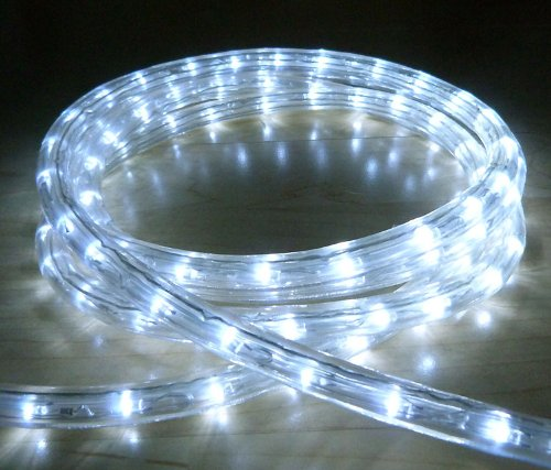 WHITE LED OUTDOOR ROPE LIGHT WITH 8 FUNCTIONS - CHASING, STATIC, ETC **  IDEAL FOR GARDEN DECKING, MOOD LIGHTING, WEDDINGS **