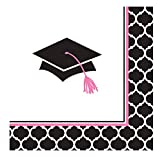 Creative Converting 36 Count Paper Beverage Napkins, Glamorous Grad, Black/White/Pink