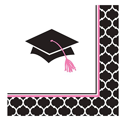 Creative Converting 36 Count Paper Beverage Napkins, Glamorous Grad, Black/White/Pink -