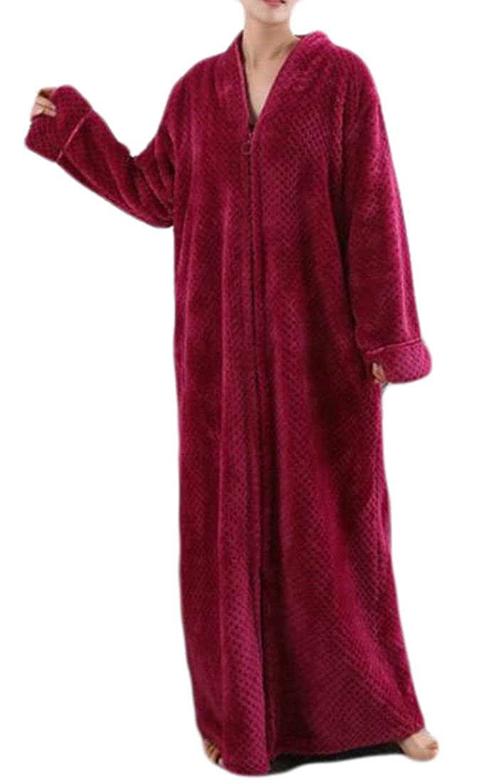 Pandapang Womens Thick Bathrobe Zip-Front Solid Plush Flannel Robes