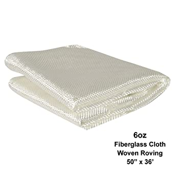 50 x 36 ft. // 12 yd. Long Simonds Fiberglass Woven Roving Cloth for Boat /& Pool Repair 6 Oz, Plain Weave