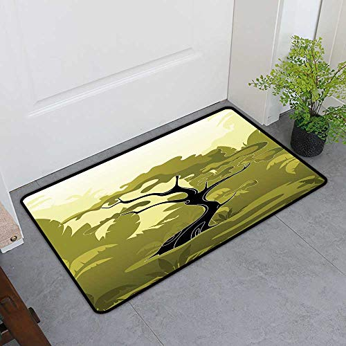 Commercial Grade Entrance Mat, Olive Green Custom Rugs for Kids Room, Japanese Tree in Jungle Abstract Nature in Summer Season (Olive Green Black Pale Yellow, H20 x W32)