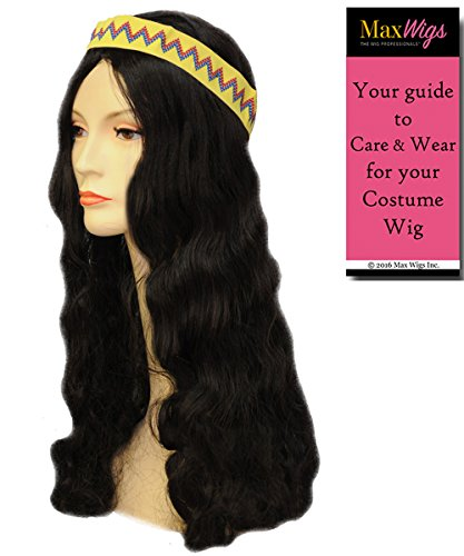 Blonde Hippie Costumes Wig (Hippie with Band Woodstock Color Blonde - Lacey Wigs Long Hippy 60s 70s Peace Synthetic Bundle with MaxWigs Costume Wig Care Guide)