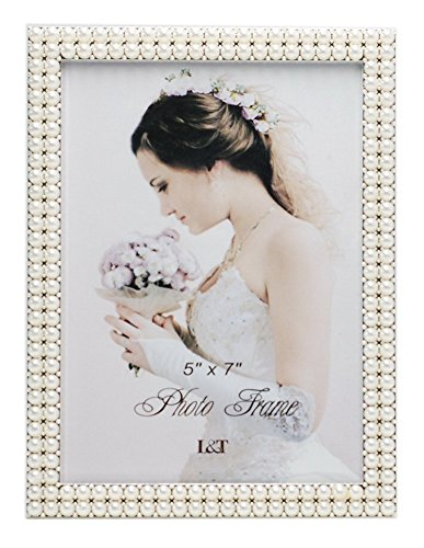 - L&T Metal Picture Frame Silver Plated with Pearls 5x7 Inch, Special Occasion Anniversary Wedding Gift Photo Frame