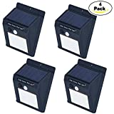 Powered Solar Sensor Wall Light 12 LED Motion Wall Lamp Wireless Porch Lights Outdoor Security Lighting Nightlight (Pack of 4)