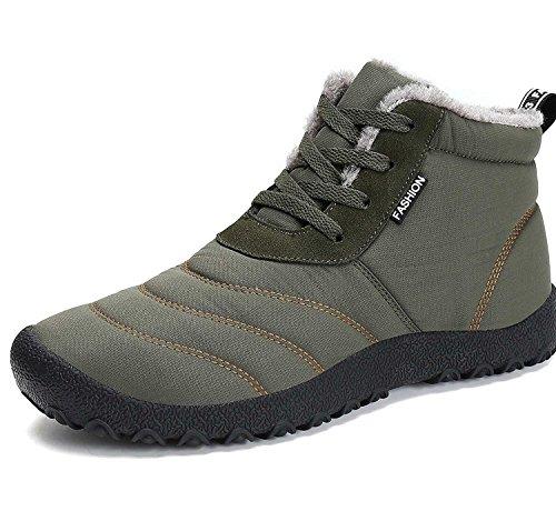 Minetom Invernali Unisex Uomo Sportive Stivali da Neve Impermeabile Scarpe Stivaletti Stringati con Imbottitura Calda Sneaker Verde