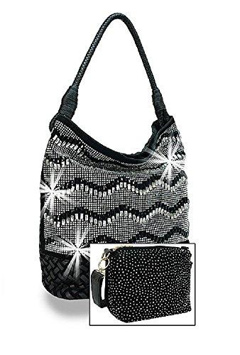 HX JP Bling Rhinestone Chevron Basketweave Western Hobo Shoulder Purse Bag Set (Black)