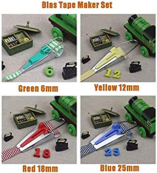 YICBOR Bias Tape Maker Set 6mm 9mm 12mm 18mm 25mm Fabric Bias Binding Maker with 100pcs Colorful Multipurpose Sewing Clips for DIY Sewing Crafting Quilting Tools Kit