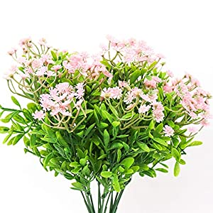 Yunuo 3PCS Vivid Green Grass Plants Artificial Flower Babysbreath Simulation Gypsophila Wedding Decoration for Home Party Office 90 Heads 79