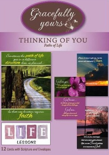 Gracefully Yours Paths of Life/Life Lessons Thinking of You Greeting Cards, 12, 4 designs/3 each with Scripture Message