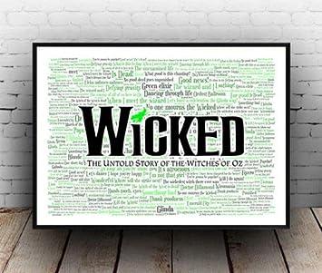Amazon.com: Wicked Broadway Musical Poster, Quotes, Lyrics ...