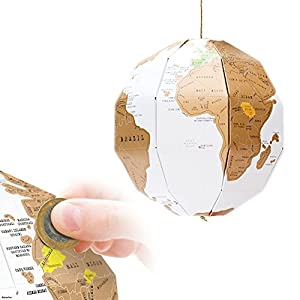 Amazon lohome 3d scratch globe world map diy assemble vertical lohome 3d scratch globe world map diy assemble vertical world globe trip planner recorder globe explore best gift for tralver gumiabroncs Images
