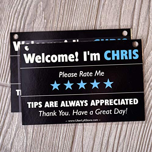 Personalized UBER Tips & Ratings Sign, Removable Headrest Display Card Placard Decals (Custom Name Printed), Increase Tips & 5 Star Ratings --- Best Accessory for Rideshare Drivers (2 Pack)