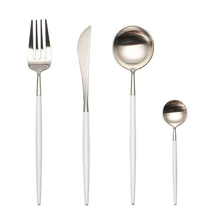 LEKOCH Cubiertos de acero inoxidable de 18/10, 4 piezas, que incluyen tenedores, cubiertos de cuchillos, cucharas para 1 (blanco y plata)