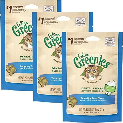 Greenies Feline Dental Treats Tempting Tuna Flavor 3Pack 7.5 oz