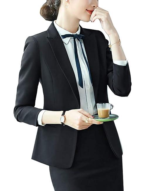Mujer Blazer Casual Manga Larga Chaqueta Y Pantalon Y Falda De Traje De  Oficina Entallada  Amazon.es  Ropa y accesorios d48b45ff0f15