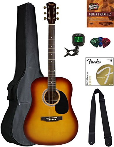 Squier by Fender SA-150 Dreadnought Acoustic Guitar – Sunburst Bundle with Gig Bag, Tuner, Strap, Strings, Picks, Austin Bazaar Instructional DVD, and Polishing Cloth