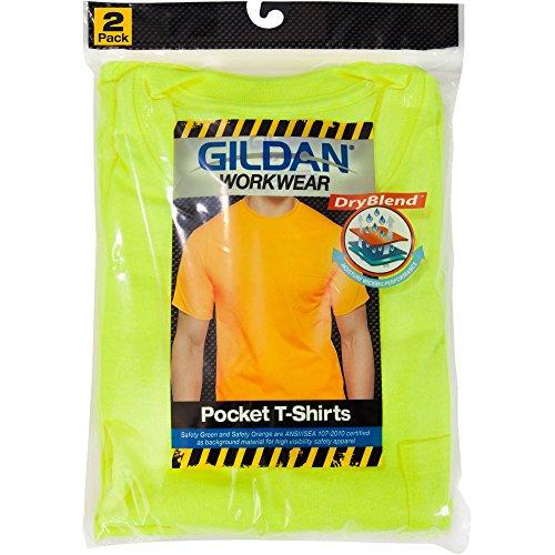 Gildan Men's 2-Pack Workwear High Visibility Crew Pocket T-Shirt (3X (Chest 54