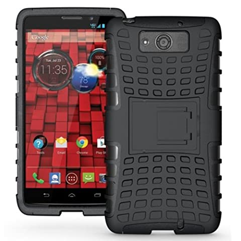 JKase DIABLO Series Tough Rugged Dual Layer Protection Case Cover with Build in Stand for Motorola Droid Ultra (Late 2013) XT1080 / Droid Maxx XT1080M - Retail Packaging (Droid Razr Otterbox Case)