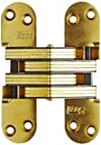SOSS Mortise Mount Invisible Hinges with 4 Holes, Zinc, Satin Brass Finish, 1-3/4'' Leaf Height, 1/2'' Leaf Width, 23/32'' Leaf Thickness, #6 x 1'' Screw Size (10 Pairs)