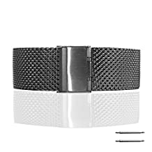 Fitian New Replacement Stainless Steel Wire Mesh Steel Fold Over Buckle Watch Band Strap for Moto 360 Smart Watch Motorola Wristband with Free a Screen Protector for Moto 360 and a Spring Bar Tool (Matte Black & Thick Mesh)