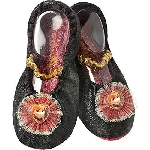 Disney Princess Frozen Anna Toddler Slipper Shoes Black, Gold -