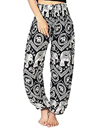Bohemian Clothes Smocked Waist Rose Flower Prints Harem Pants, Perfect for Yoga, Mens, Women, One Size Fits Most