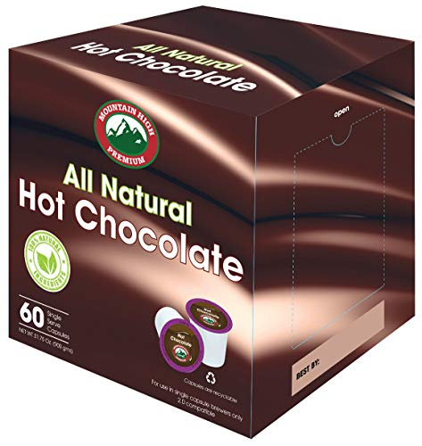 Mountain High All Natural Hot Chocolate K Cups 2.0 Compatible (Milk Chocolate, 60) (Best Keurig Hot Chocolate)