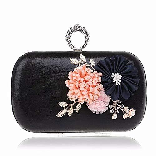 Flower Perlen A e caisehua Black Abendtasche Farbe Bag Blume Dinner nFO71rBn