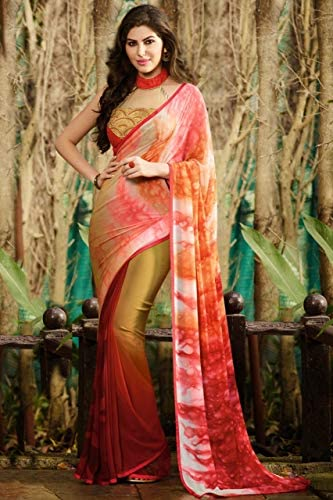 Designer New Casual Wear Georgette Saree Sari con Ceremonial Camicetta Piece of Traditional Bollywood Ethnic Clothing Abito per Donna Trendy Indian Women 8088