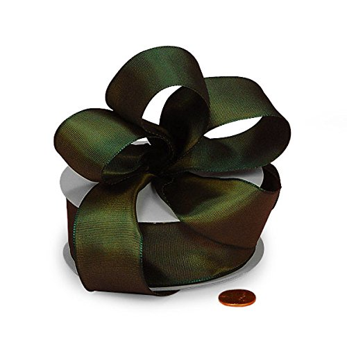 (Green and Gold Two Tone Grosgrain Ribbon 1 1/2