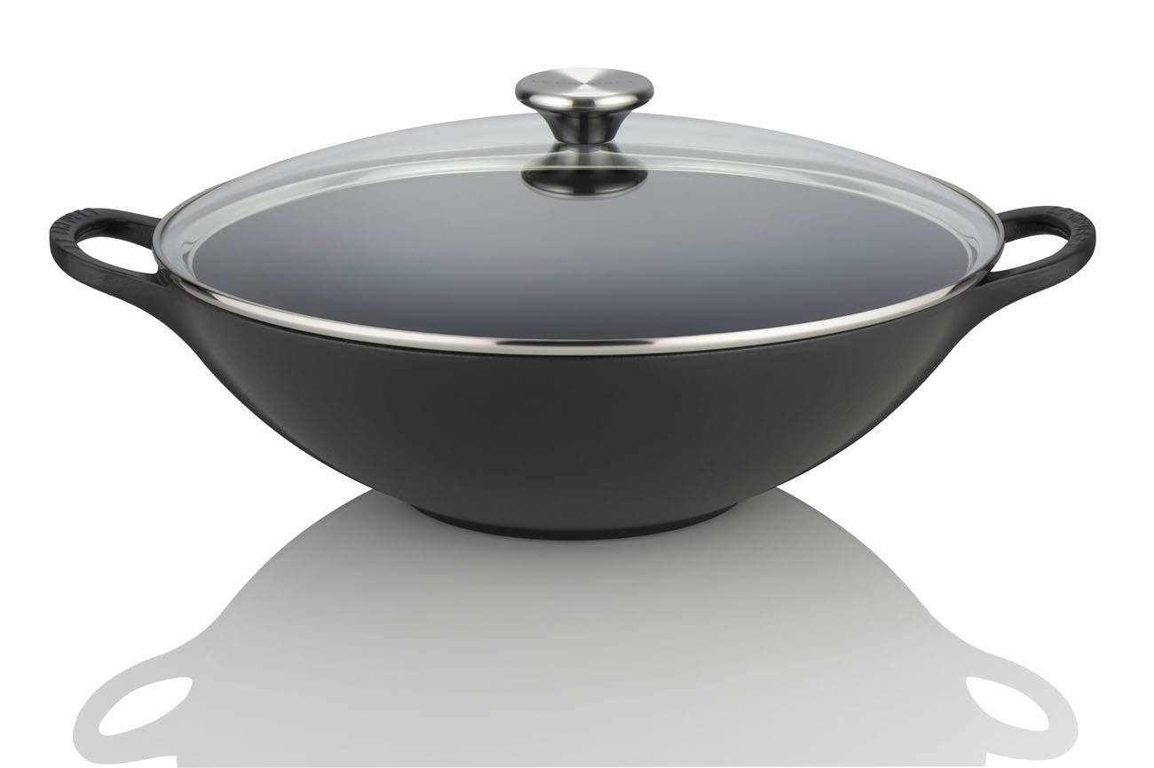 32 cm mit Glasdeckel kirschrot Le Creuset Gusseisen Wok