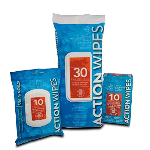 Action Wipes Adventure Pack - Natural Body Wipes for when you can't shower. A set for every adventure on your list - from travel, hiking and camping to climbing Mt. Killamanjaro! by Action Wipes