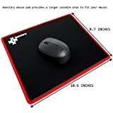Huestory Ultra Thick 10.6 x 8.7 x 5mm Gaming Mouse Pad with Stitched Edges, Accurate Controllability, Non-slip (Edge-Red)