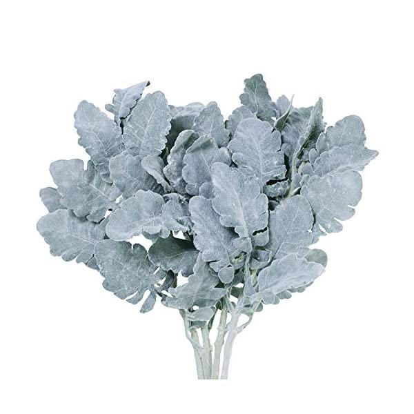 SUPLA 4 Pack Artificial Dusty Miller Spray in Grey Green Flocked Oak Leaves Stems Silk Dusty Miller Leaf Plants Faux Dusty Miller Greenery Branches 18″ Tall for Wedding Bouquets Wreath Floral