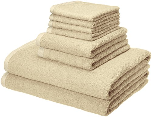 AmazonBasics Quick-Dry Towels, 100% Cotton, 8-Piece Set, Linen