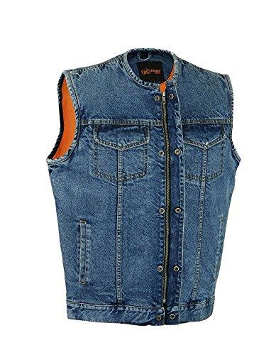 Mens Motorcycle Son Of Anarchy Blue Denim Vest Gun Pocket Inside W O Collar New  5Xl Regular