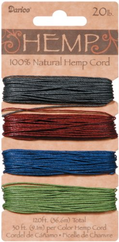 (DARICE 1936-87 Hemp Cord Set, 20-Pound by 120-Feet, Darks, Assorted)
