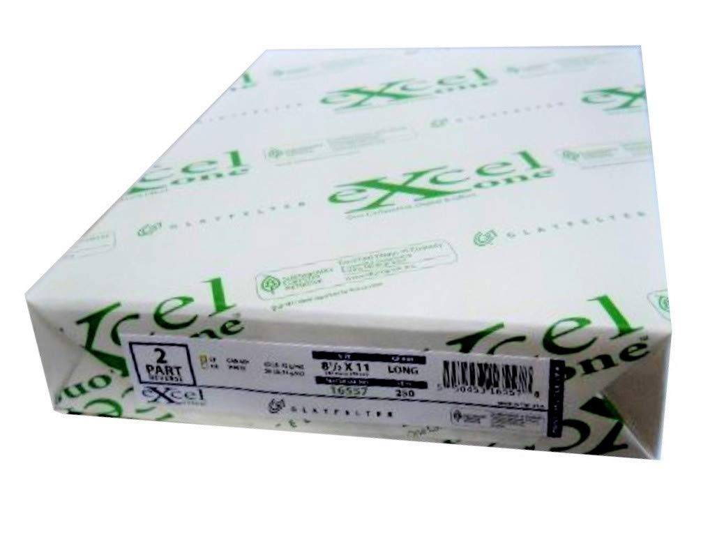 Carbonless Paper 2-part 1 Ream / 500 Sheets (250 Sets) Bright White / Canary 8 1/2 X 11 by Excel Glatfelter by Excel Glfr