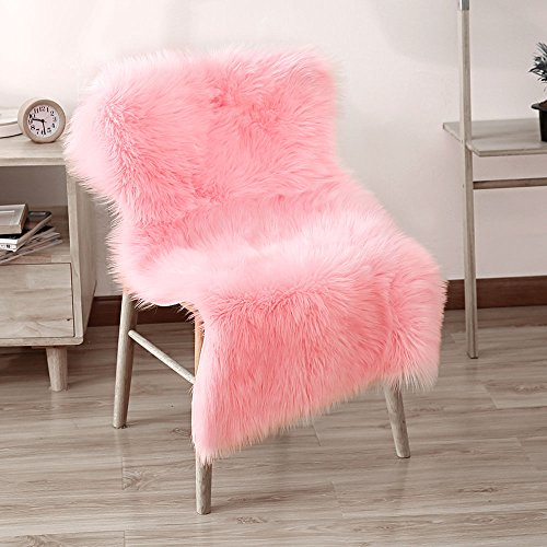 LEEVAN Supersoft Fluffy Chair Cover Sheepskin Rug Seat Cover Shaggy Silky Throw Floor Mat Carpet Accent Rugs- 2 feet x 3 feet, Pink