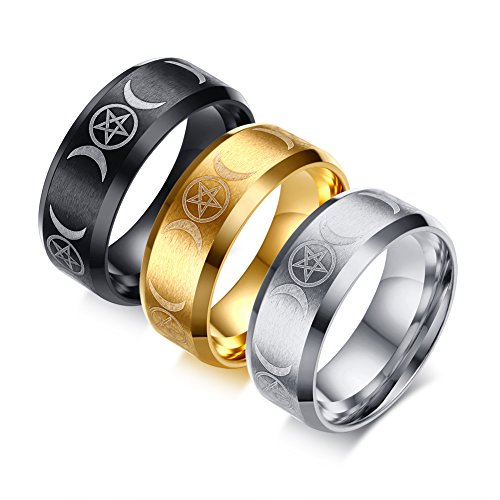 Vnox 3 Color a Set 8MM Stainless Steel Triple Moon Goddess Rings for Egagement Wedding Band,Size 9