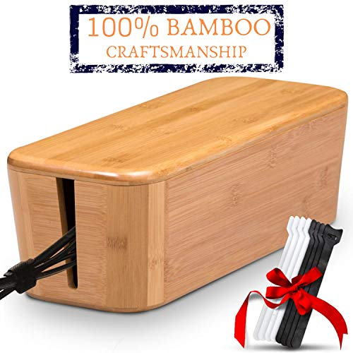 TEYGA Bamboo Cable Management Box - Stylish Cord Organizer Box Hides Power Strip and Keeps Cords Untangled - Surge Protector Cover Keeps Children Safe - Eco-Friendly TV Cord Box for Home and Office