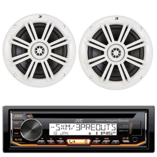 Package: JVC KD-R97MBS 1-Din Marine CD Receiver with Bluetooth,USB 4 Android/iPhone and SiriusXM + Pair of Kicker 41KM604W 6.5