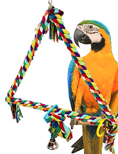 Bonka Bird Toys HUGE TRIANGLE ROPE RING SWING BIRD TOY parrot cage toys cages macaw amazon