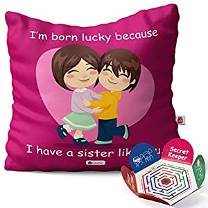 Indigifts Micro Sati and Fibre Lucky To Have You Sis Printed Micro Satin Cushion Cover with Fibre Filler (Magenta, 12×12…