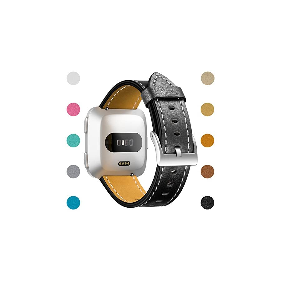 CreateGreat for Fitbit Versa Bands, Classic Vintage Genuine Leather Replacement Accessories Wristbands with Stainless Metal Clasp for Fitbit Versa Smartwatch